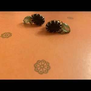 Vintage Green Rhinestone Gold Clip Earrings